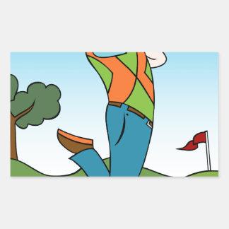 Golf Course Man Playing Golfer Rectangular Sticker