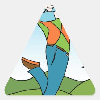 Golf Course Man Playing Golfer Triangle Sticker