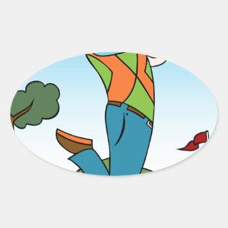 Golf Course Man Playing Golfer Oval Sticker