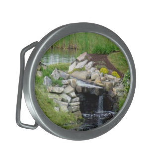 Golf Course Waterfall in Maine Oval Belt Buckles