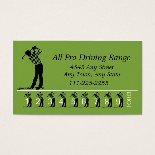 Golf Driving Range - Customer Loyalty Punch Card