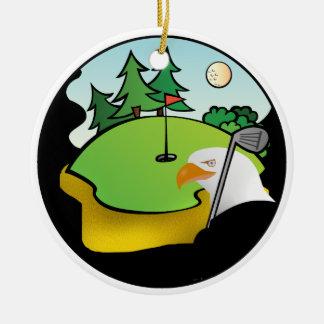 Golf Eagle Round Ceramic Decoration