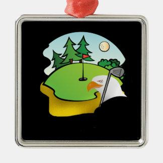 Golf Eagle Silver-Colored Square Decoration