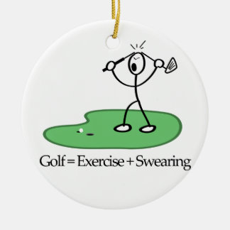 Golf = Exercise + Swearing Christmas Ornament