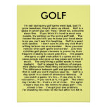 Golf Funny Poster Humour