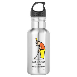 Golf Greetings Water Bottle Silver