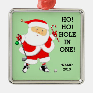 "Golf ""hole in one"" Christmas Silver-Colored Square Decoration"