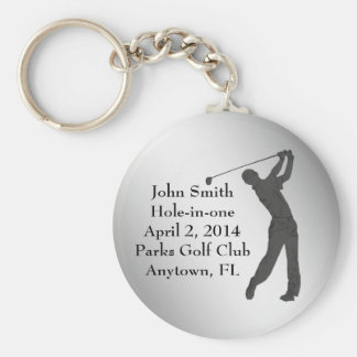 Golf Hole-in-one Commemoration Customizable Basic Round Button Key Ring