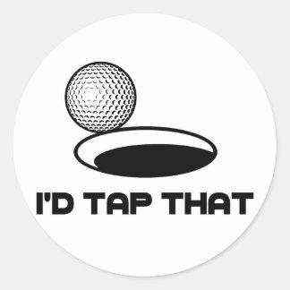 Golf I'd Tap That Round Sticker