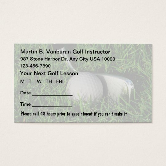 Golf Instructor Appointment Cards