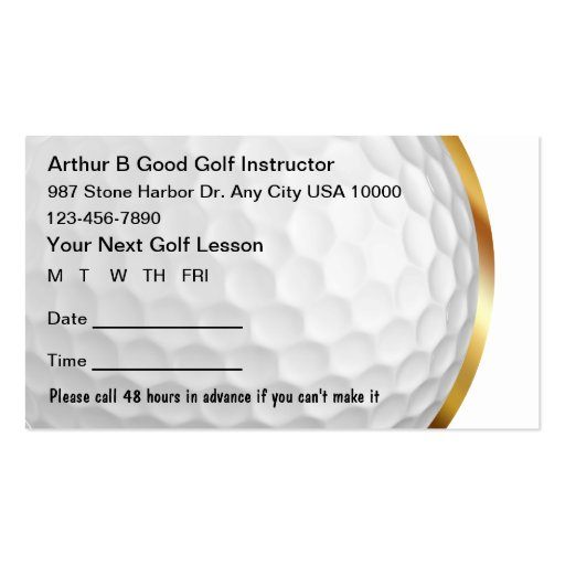 Golf Instructor Appointment Cards Business Card Templates