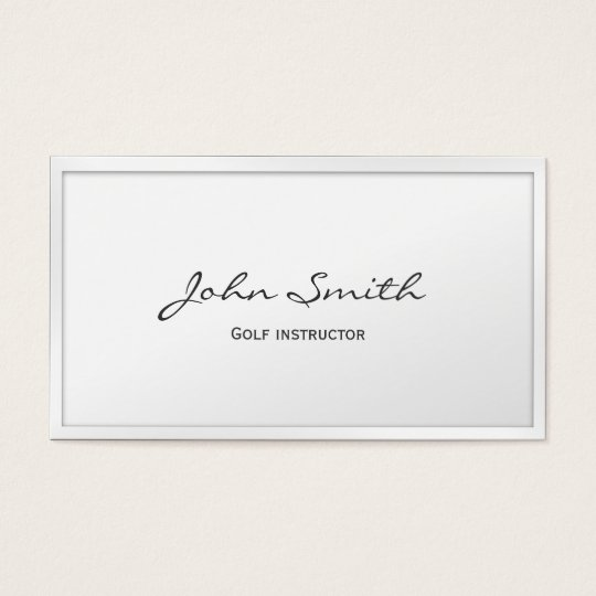 Golf Instructor Minimal Classy White Border Business Card