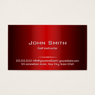 Golf Instructor Professional Red Metal Business Card