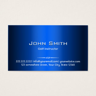 Golf Instructor Professional Royal Blue Metal Business Card