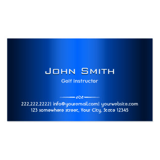 Golf Instructor Professional Royal Blue Metal Pack Of Standard Business Cards