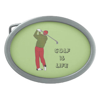GOLF is LIFE, Golfer, Club, Golf Quote Oval Belt Buckles