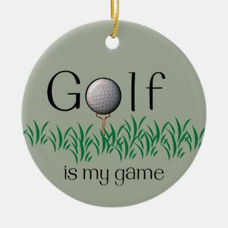GOLF is my game Round Ceramic Decoration