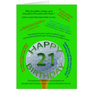 Golf Jokes birthday card for 21 year old