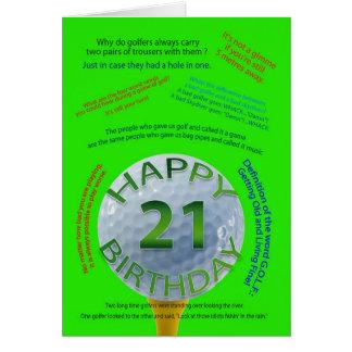 Golf Jokes birthday card for 21 year old