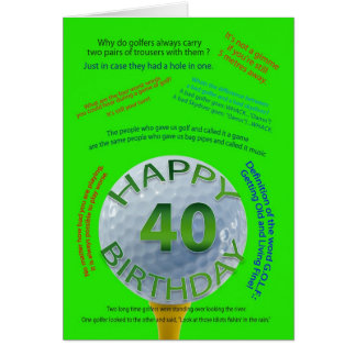 Golf Jokes birthday card for 40 year old