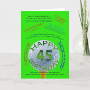 Golf Jokes Birthday Card For 45 Year Old