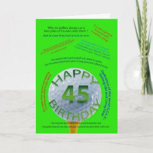 Golf Jokes Birthday Card For 45 Year Old
