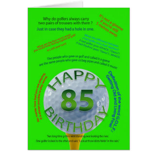 Golf Jokes birthday card for 85 year old