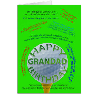 Golf Jokes birthday card for Grandad