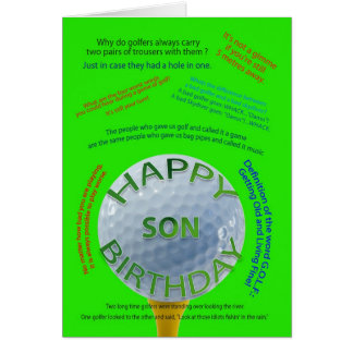 Golf Jokes birthday card for son