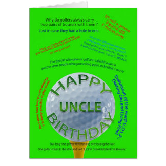 Golf Jokes birthday card for uncle