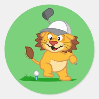 Golf Lion Round Stickers