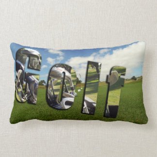 Golf Logo And Balls On Green Lumbar Cushion. Lumbar Cushion