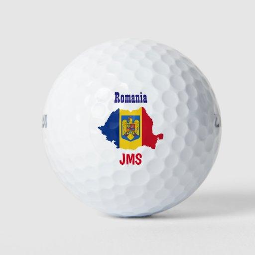 Golf Monogram Romania Flag Map Golf Balls