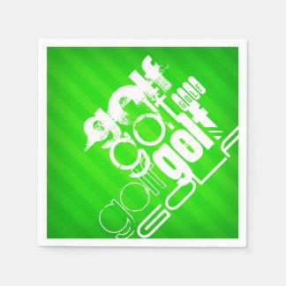 Golf; Neon Green Stripes. Disposable Serviettes