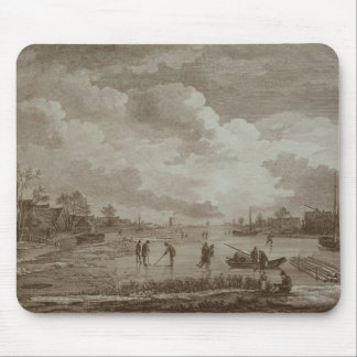 Golf on ice, copperline engraving by Van Dreve Mouse Mat