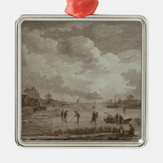 Golf on ice, copperline engraving by Van Dreve Silver-Colored Square Decoration