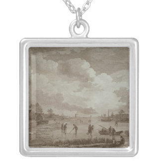 Golf on ice, copperline engraving by Van Dreve Silver Plated Necklace