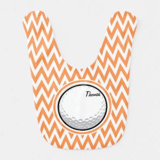 Golf Orange and White Chevron Baby Bib