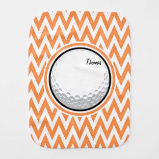 Golf Orange and White Chevron Burp Cloth
