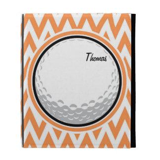Golf Orange and White Chevron iPad Folio Cover
