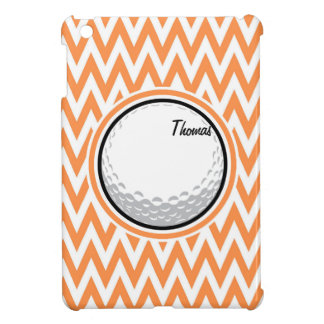 Golf Orange and White Chevron Case For The iPad Mini