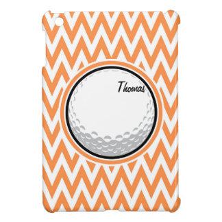 Golf Orange and White Chevron Cover For The iPad Mini