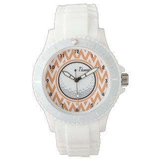 Golf; Orange and White Chevron Watch