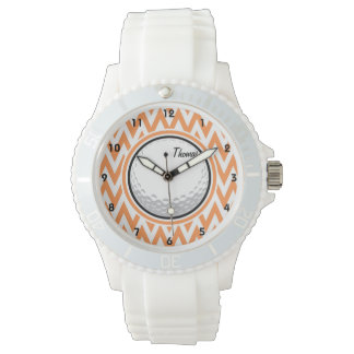 Golf; Orange and White Chevron Wrist Watches