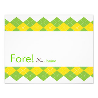 Golf Party Argyle Preppy Personalized Invitations