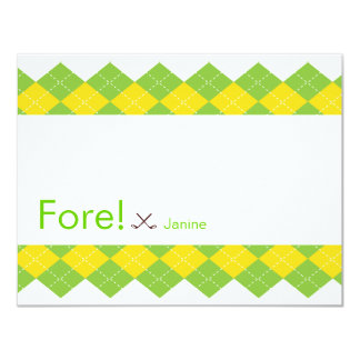 "Golf Party Argyle Preppy 4.25"" X 5.5"" Invitation Card"