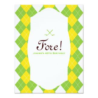Golf Party Argyle Preppy 4.25x5.5 Paper Invitation Card