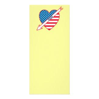Golf Patriot Heart Flag Personalised Rack Card
