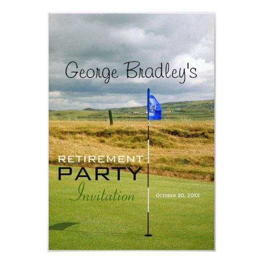 Golf Personalised Retirement Party Invitation