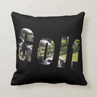 Golf Picture Logo, Black Throw Cushion. Cushion